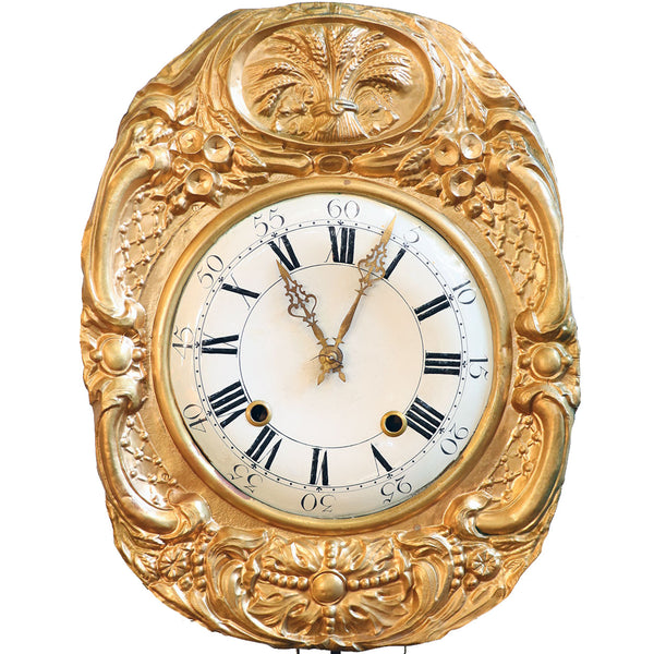 French Brass Repousse Morbier Wall Clock