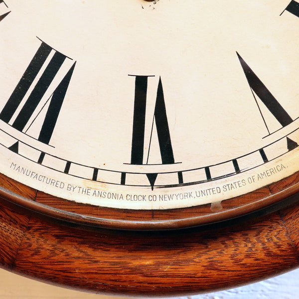American Ansonia Oak Round School House / Railway Station Wall Clock