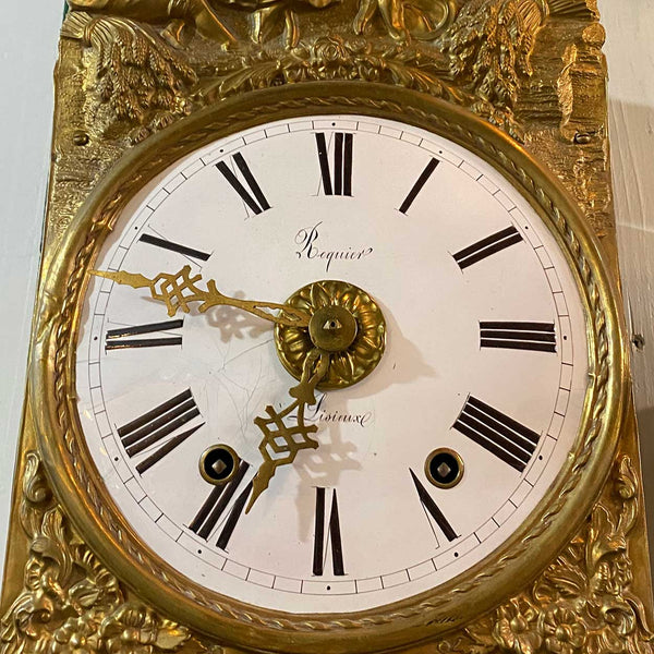 French Provincial Normandy Lisieux Brass Repousse Morbier Comtoise Wall Clock