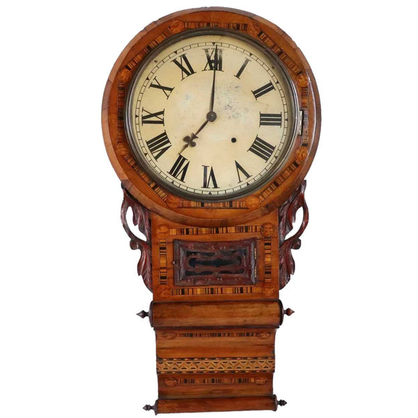 English Victorian Tunbridgeware Case Parquetry Inlaid Drop Dial Wall Clock