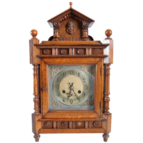 German Renaissance Revival Quarter Sawn Oak Mantel Clock