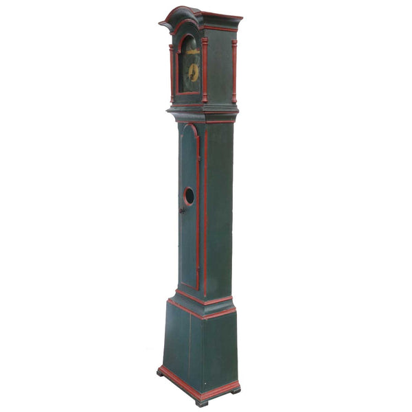 Small Danish Niels Fischer Painted Pine 30-Hour Grandfather Clock