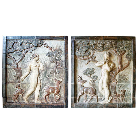 Pair of KNUD KYHN Stoneware Tiled Wall Panels of Adam and Eve
