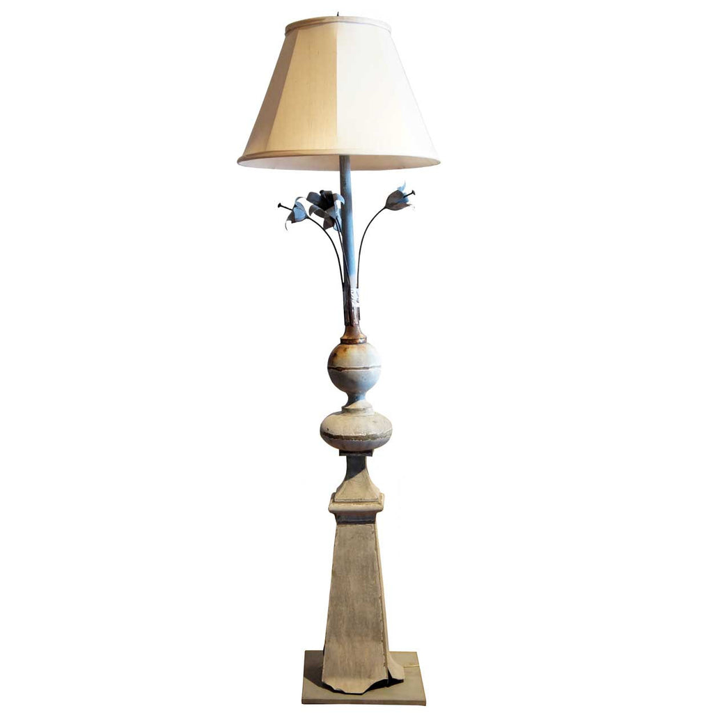 Antique french zinc architectural roof finial as a floor lamp french zinc architectural roof finial as a two light floor lamp aloadofball