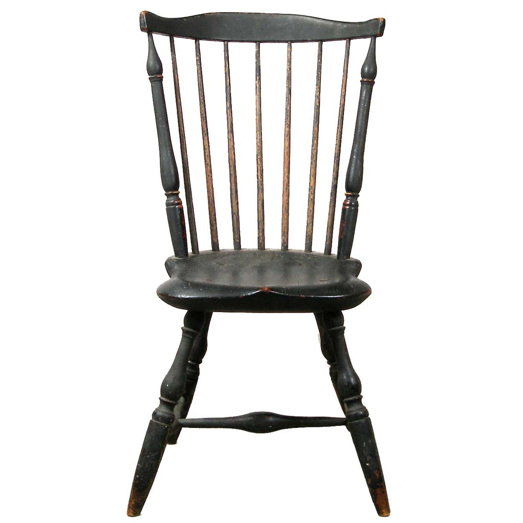 American New England Painted Fan Back Windsor Side Chair