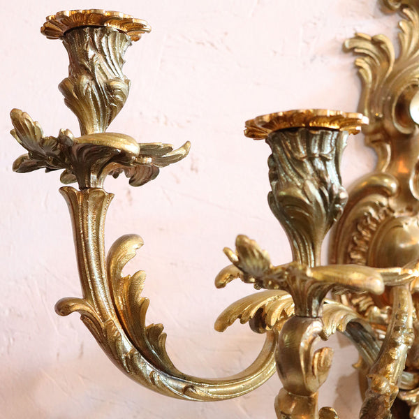 Pair of French Louis XV Revival Gilt Bronze Five-Light Candle Wall Sconces