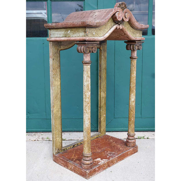 Large Italian Faux Marble Painted Pine Reliquary Canopy