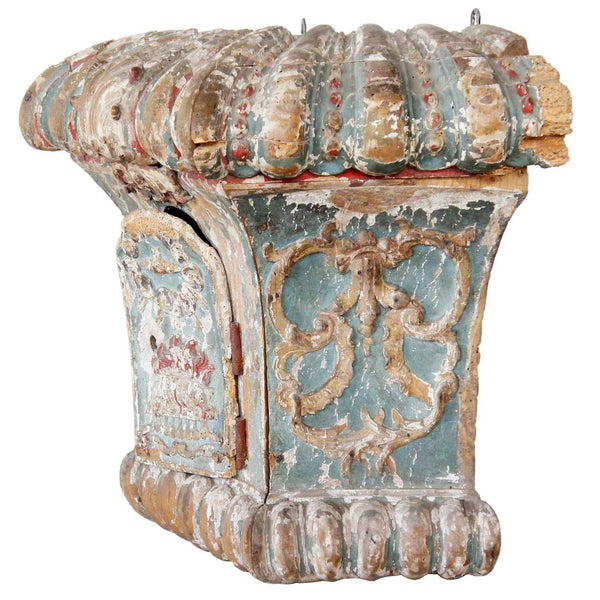 Spanish Baroque Painted Pine Architectural Shrine Niche
