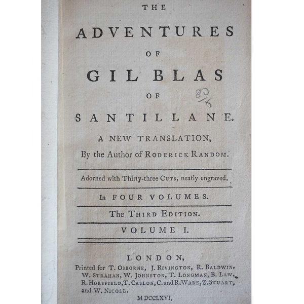 Set of Four Books: The Adventures of Gil Blas by Alain-Rene Lesage