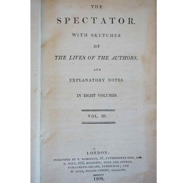 Set of Four Leather Books: The Spectator by Addison and Steele