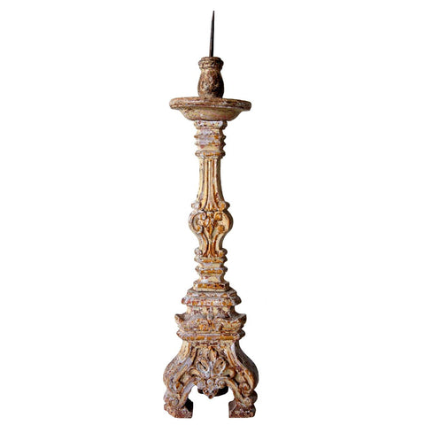 Indo-Portuguese Baroque Painted Teak Candlestick
