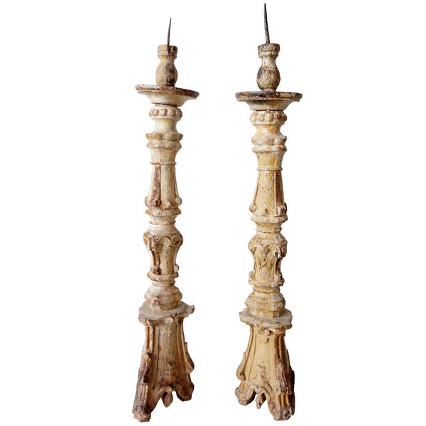 Rare Pair of Large Indo-Portuguese Baroque Painted and Gilt Teak Pricket Candlesticks