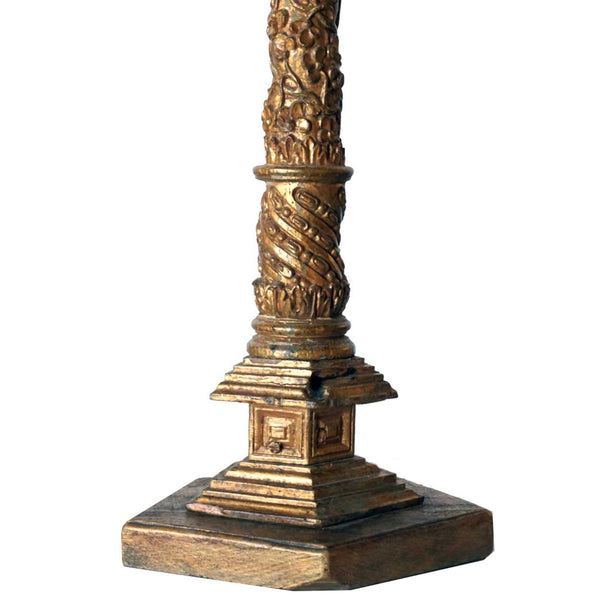 Two Indo-Portuguese Gilt Altar Columns as Table Lamps