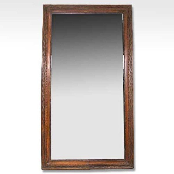 Large Italian Oak Framed Beveled Mirror