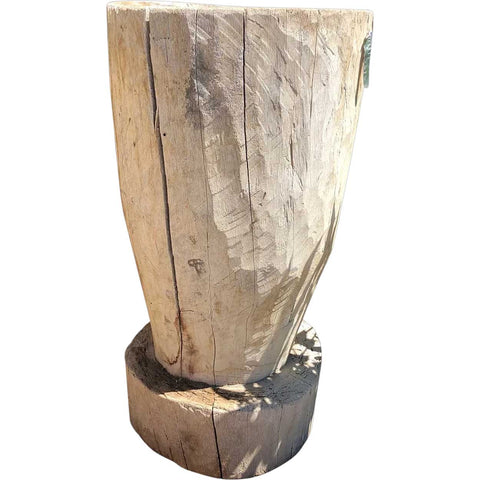 Large Mexican Huastec Primitive Hand Hewn Log Mortar