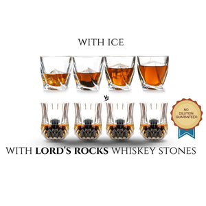The Connoisseur - 6 Whiskey Stones + Two 2.7 oz Glasses