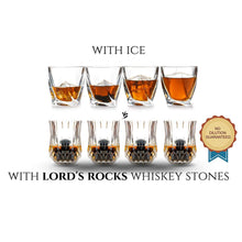 Load image into Gallery viewer, The Pro - 8 Whiskey Stones + two 6.8 oz Glasses - Whiskey