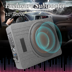 10 Inch 600W Car Under Seat  Subwoofer Speaker Vehicle Super Slim Active Subwoofer Sub Amplifier Auto  Enclosed Subwoofer System