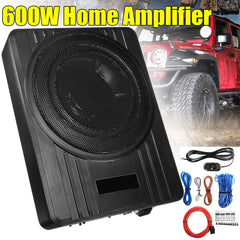 10 Inch 600W Powered Car Speaker Truck Subwoofer Amplifier Amp Slim Under-Seat Super Bass  Car Subwoofer Speaker