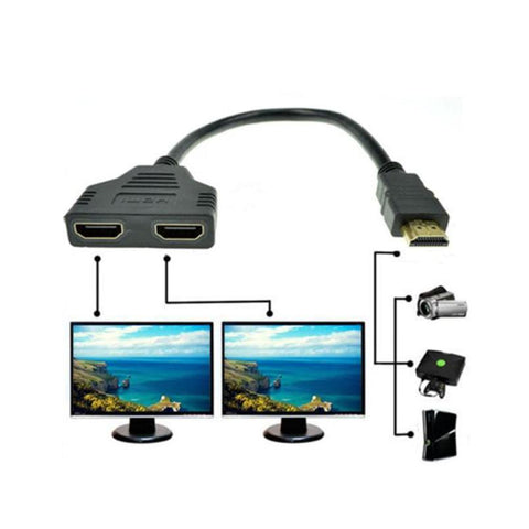 1080P HDMI Port Male to 2 Female 1 In 2 Out Splitter Cable Adapter Converter for Xbox Blueray DVD player PS3 High Resolutions