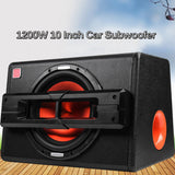 1200W 10 Inch Car Home Trapezoidal Subwoofer Speaker Under Seat Subwoofers Box Powerful Amplifier Car Enclosed Subwoofer System