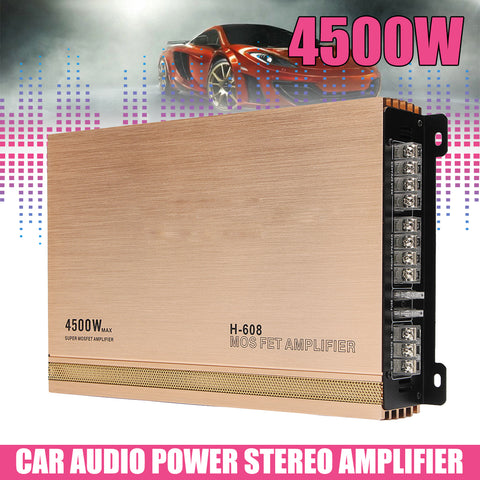 12V 4 Channel Auto Car Audio Amplifiers 4500W Hifi AMP Audio Power Stereo Amplifiers Speaker Subwoofers for Car Truck Motorcycle