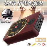 12V 8 inch 600W Wood Under Seat Car Subwoofers Speaker Auto Active Power Audio Stereo Brass Sub Woofer Amplifier Speakers