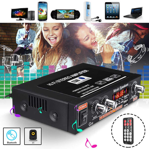 12V HIFI Bluetooth Car Active Power Amplifier Speaker Subwoofer FM Radio Stereo Audio Music Player Support SD USB MP3 DVD