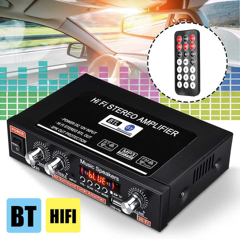 12V HIFI Bluetooth Car Active Power Amplifier Speaker Subwoofer FM Radio Stereo SD USB MP3 DVD Audio Music Player Speakers