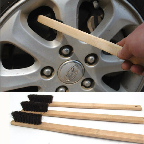 1Pc 40cm Car Engine Tire Wheel Rim Cleaning Brush Long Bamboo Handle Natural Bristl Auto Detailing Washer