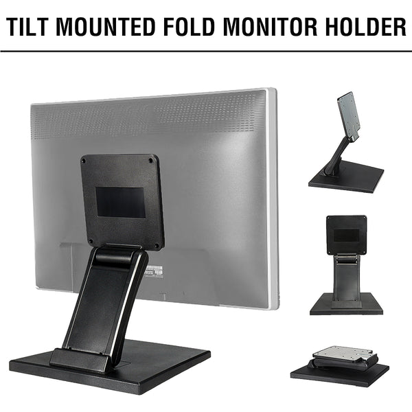 1Pcs Plastic Tilt Mounted Fold Monitor Holder Rotated For 10-27 Inch LCD Display Screen Stand PC Monitor TV Holder