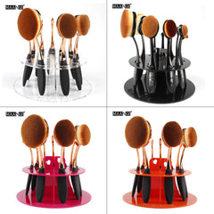 2017 Hot 10 Holes 1pcs Acrylic Makeup Brush Dryer Holder Cosmetic Organizer Make Up Brush Rack Oval Brush Shelf Shipped from USA