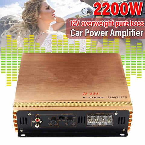 2200W DC 12V 2 Channel Mini HiFi Car Amplifier Board Car Audio Music Player Stereo Subwoofer Speaker Power Amplifier Motocycle