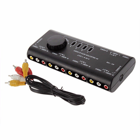 4 in 1 Out AV RCA Box AV Audio Video Signal Splitter 4 Way Selector with RCA Cable For Television DVD VCD TV