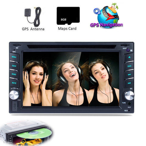 "6.2"" 2 Din Car Stereo Radio DVD CD Player GPS Navigation FM RDS USB HD Screen Bluetooth Rear View Camera Aux Audio Autoradio"