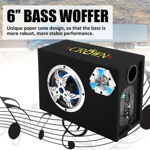 6 inch 600W Bluetooth Car Subwoofer Speaker Bass Auto Stereo Amplifier Home Audio USB/ TF Cards/ FM Radio Lound Speakers