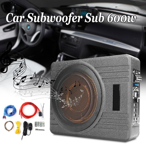 600W 10 Inch 12V Car Under Seat Ultra Thin Active Amplifier Subwoofer Slim Speaker Aplifier with Remove Control Amplifier