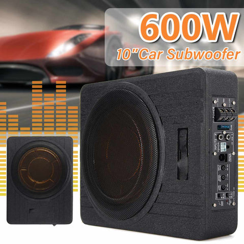 600W 10 Inch 12V Car Under Seat Ultra-thin Active Amplifier Subwoofer Auto Audio Lound Speaker Subwoofers Amplifier