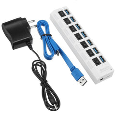 7 Ports USB 3.0 Hub On/Off Switches AC Adapter Cable Splitter for Laptop Desktop US Plug Multi USB 3.0 Hub For Computer Notebook