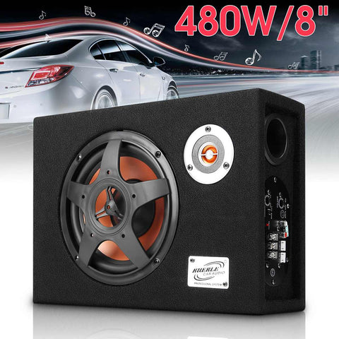 8 Inch 480W Car Speaker Under-Seat Car Subwoofer Modified Speaker Stereo Audio Bass Amplifier Subwoofers Car Audio Auto