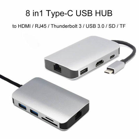 8-in-1 Converter Type-C to HDMI 100M Network Card Docking Station USB C HUB Type C To HDMI USB3.0 Adapter for Laptop Smart Phone