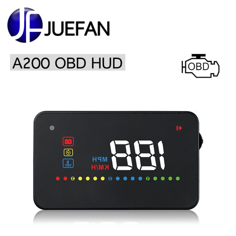 A200 HUD Head Up Display Vehicle OBD2 II EUOBD Speed Exceeds Warning System Projector Windshield Auto Electronic Voltage Alarm