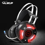 ALWUP A6 Gaming Headphones for Computer PC Games Wired Earphone Led HD Bass USB Gaming Headset for PS4 Xbox one with microphone