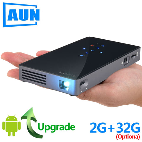 AUN Smart Projector, D5S, Android 7.1 (Optional 2G+32G) WIFI, Bluetooth, HDMI, Home Theater Mini Projector (Optional D5 White)
