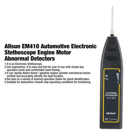 Allsun EM410 Automotive Electronic Stethoscope Engine Motor Abnormal Sound Detectors Repair the Tool for Car Machinesale