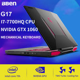 BBEN G17 Laptop Gaming Notebook Laptop Computer Windows 10 Intel I7 7700HQ Nvidia GDDR5 32G Ram +SSD/HDD Option Backlit Keyboard