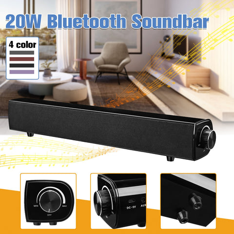 Bluetooth Speaker Sound Bar Wireless Bass Soundbar Subwoofer 20W Home Theater Loudspeaker with Mic USB AUX for PC TV