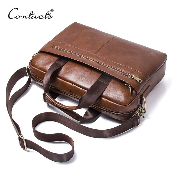 CONTACT'S 2018 Business Genuine Leather Men Briefcase Cowhide Men's Messenger Bags For 14