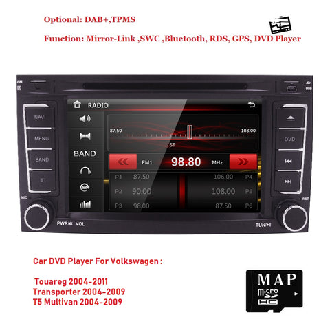 Car Monitor DVD Radio Player For VW VolksWagen Touareg Transporter T5 Multivan with GPS iPod RDS SWC BT Subwoofer DVR DTV 3G DAB