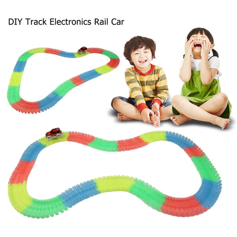 Creative DIY Fun Puzzle Toy Car Track Electronics Rail Car Education Toys for Children Boys More Than 3 Years Birthday Gifts